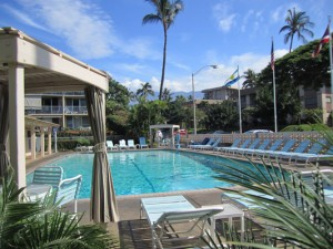 Kihei Kai Nana large 30 x 60 pool with view to Mt Haleakala